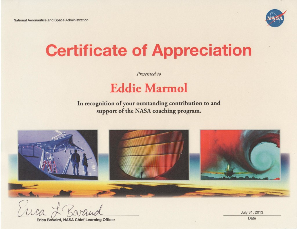 NASA Certificate of Appreciation